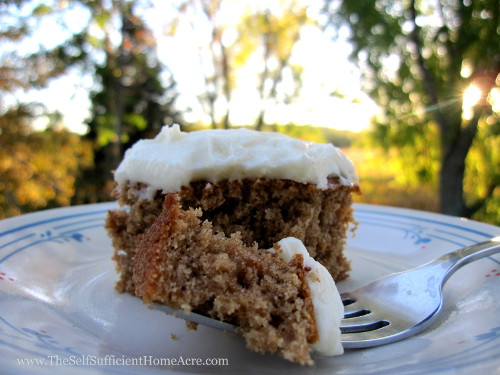 Homemade Applesauce Cake with Maple Cream Cheese Frosting