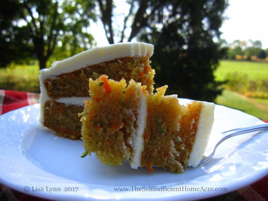Carrot zucchini cake with cream cheese frosting from The Self-Sufficient HomeAcre. Photo used with permission.