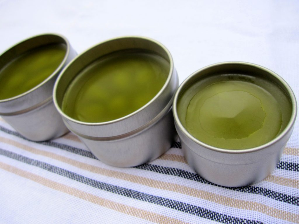 Herbal hand salve in metal tins
