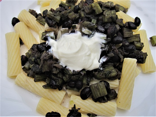 Burdock with Black Beans and Pasta