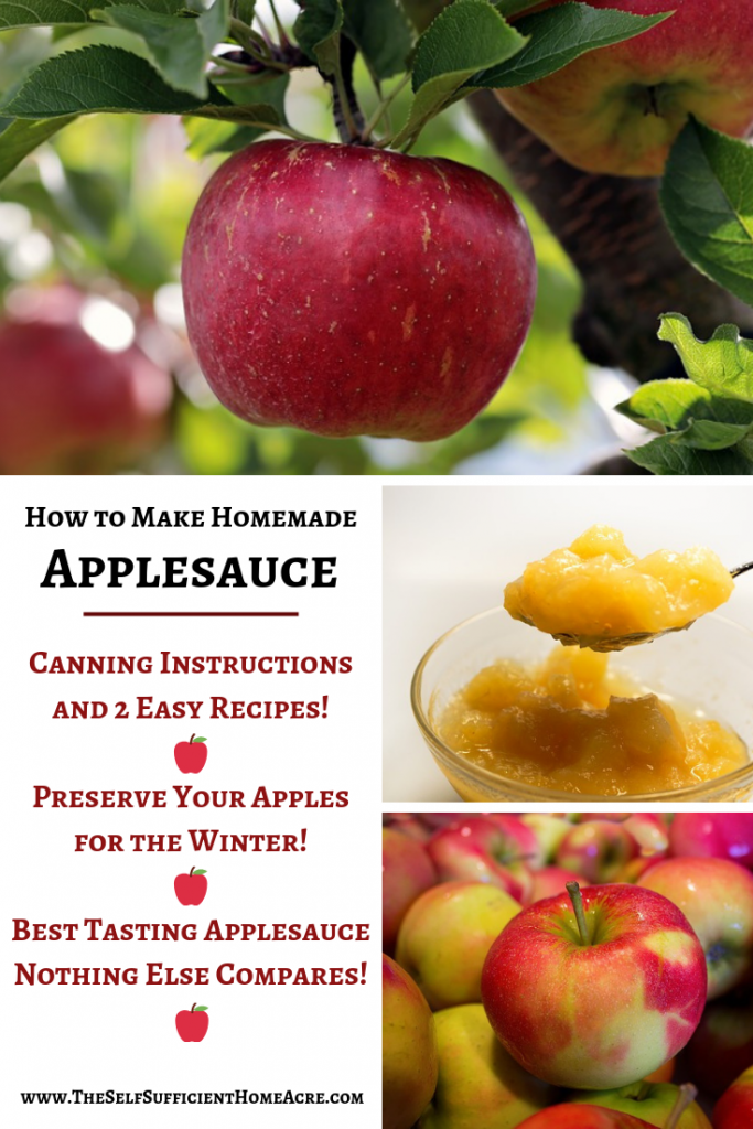 How to Make Homemade Applesauce - 2 Easy Recipes and Canning Instructions by The Self Sufficient HomeAcre