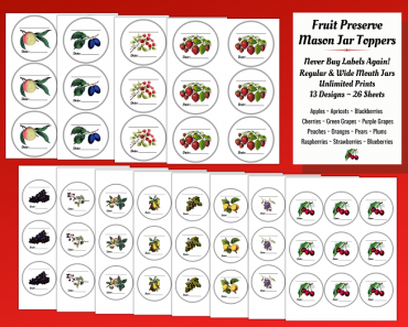 Printable Fruit Preserve Mason Jar Toppers